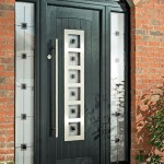 Composite door with bar handle