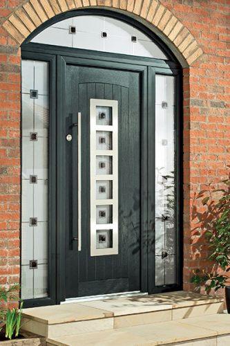Composite door with bar handle
