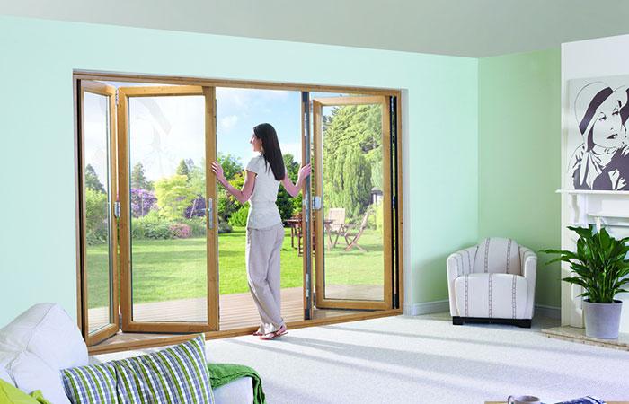 Oak coloured bifold doors