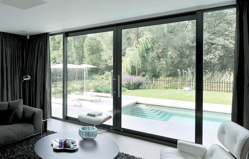 Black aluminium patio doors