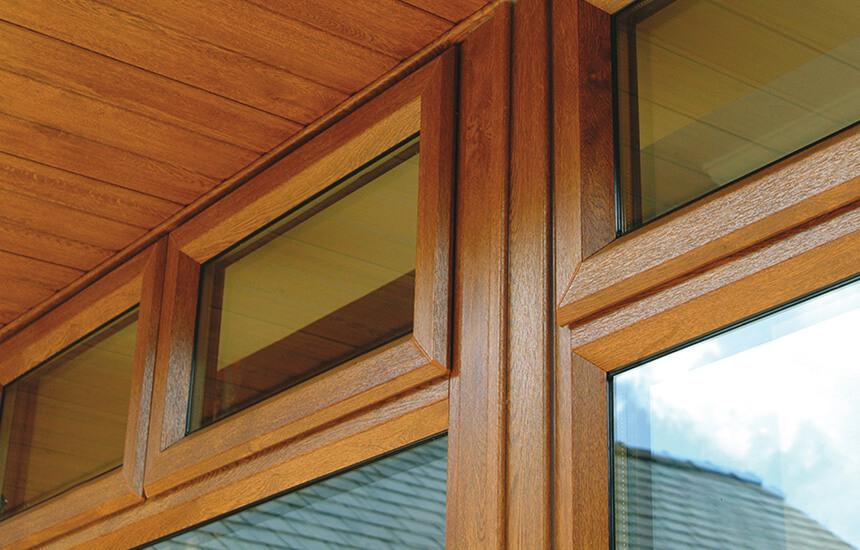 Oak effect casement window close up