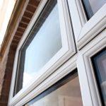 White casement window close up