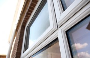 White casement window close up