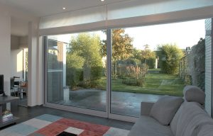 Aluminium lift and slide door interior view