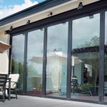 Black aluminium bifold door
