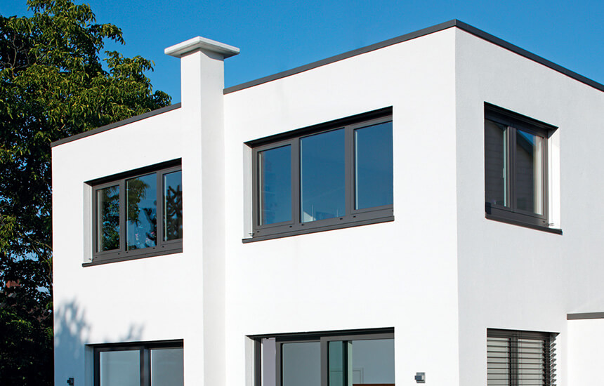Black aluminium casement windows installation