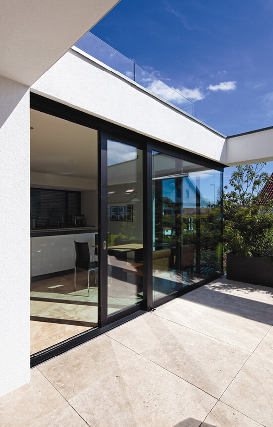 Black aluminium sliding patio door