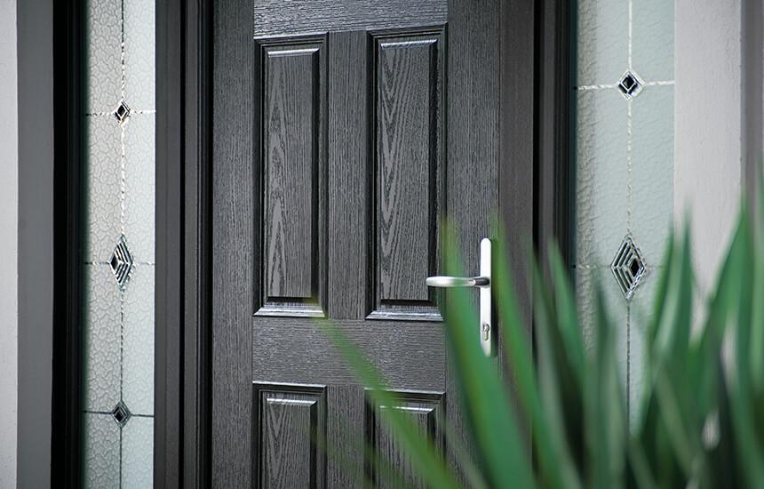 Black traditional composite door