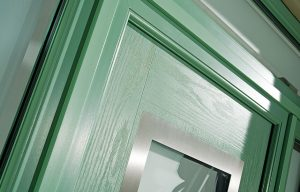 Chartwell green contemporary composite door close up