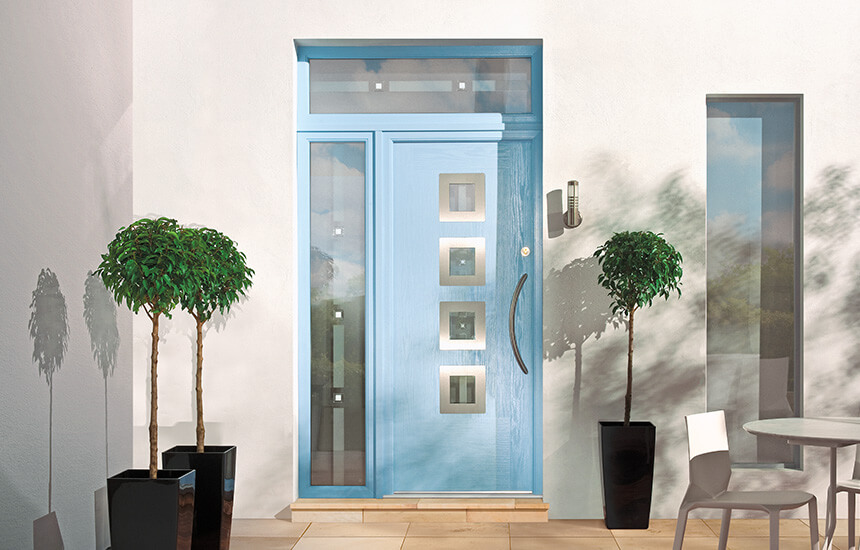 Light blue contemporary composite door
