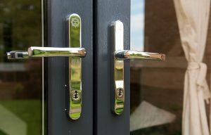 Chrome french door handles close up