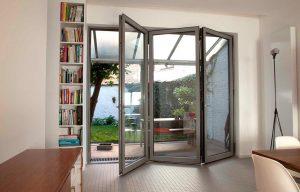 Grey aluminium bifold door interior view