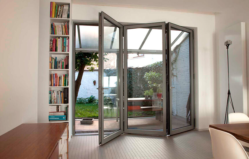 Grey aluminium bifold door interior view