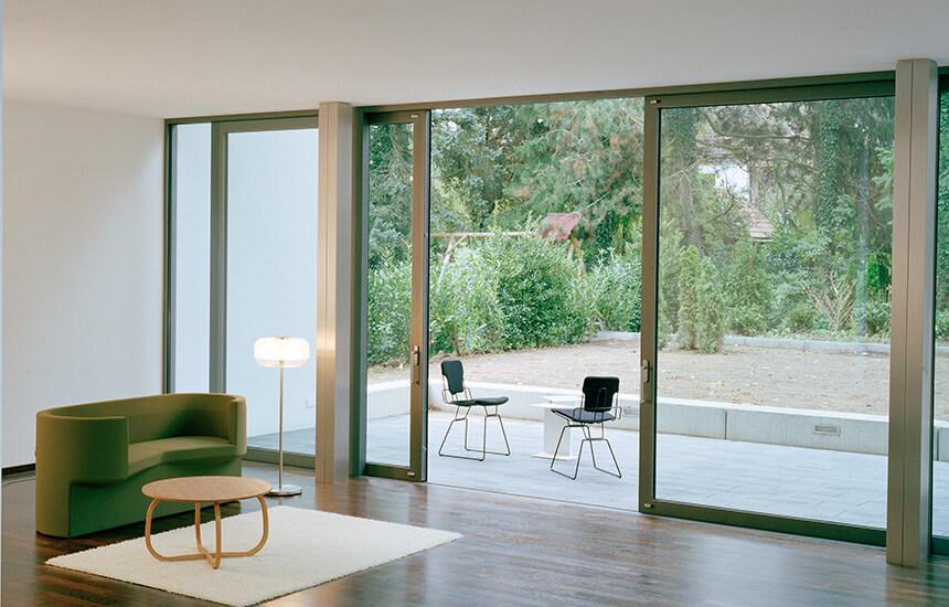 Grey aluminium lift and slide door interior view