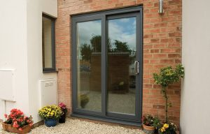 Grey uPVC sliding patio door