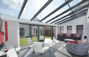 Grey uPVC lean to conservatory interior view