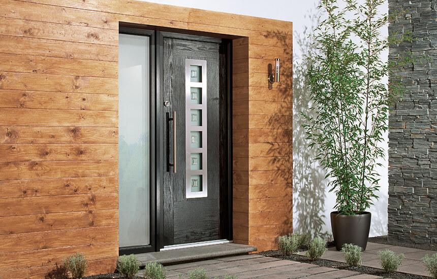 Modern black composite door