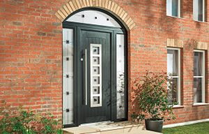 Modern black entrance composite door