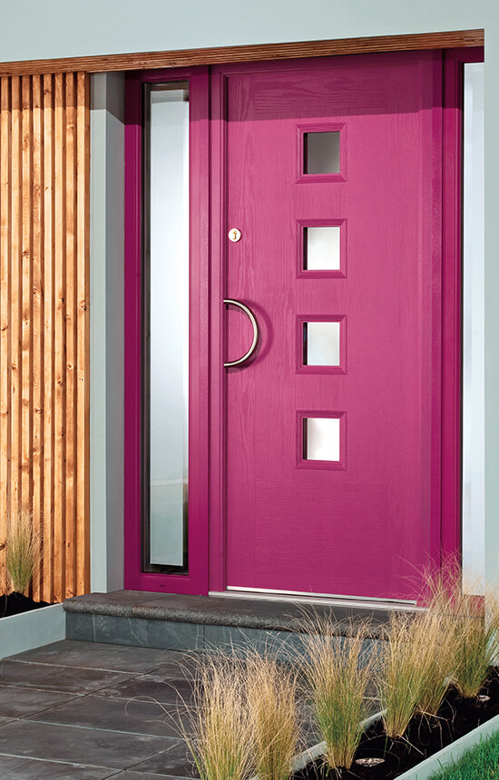 Modern pink contemporary composite door
