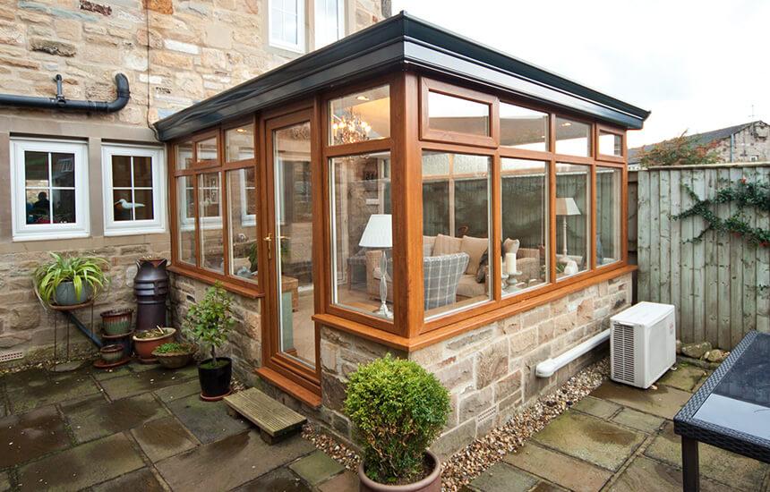 Oak Effect Upvc Sunroom Turkington Windows