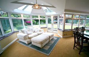 Interior view of a P-Shaped sunroom