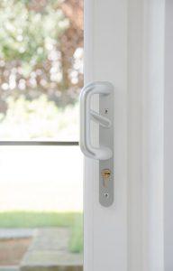 White uPVC patio door close up
