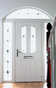 Interior view of a traditional white composite door