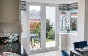 White uPVC french door interior view