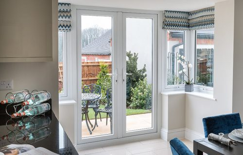 White uPVC french door interior view