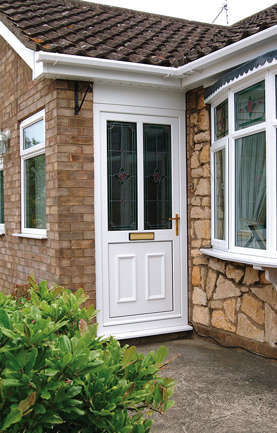 White uPVC front door installation