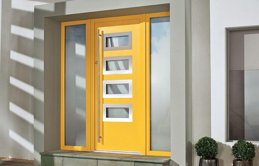 Yellow contemporary composite door