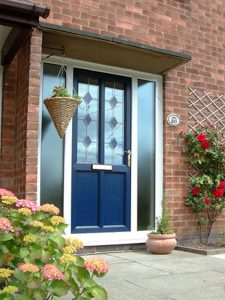 Blue entrance door