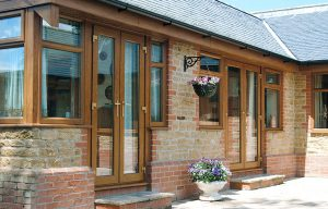 Dual oak effect uPVC french doors