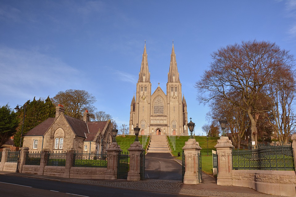 Armagh cathedral with blue sky