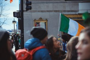 Crowd with Irish flag
