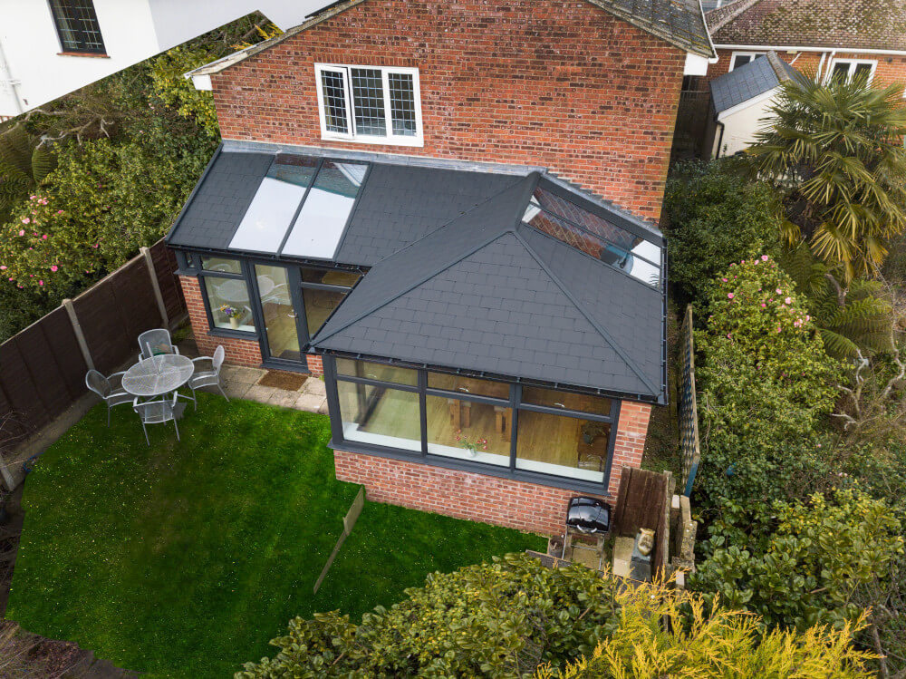 UltraRoof exterior Carbon Grey with glazing panels