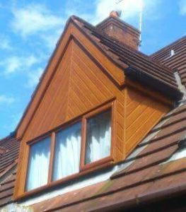 Outside a home with new roofline.