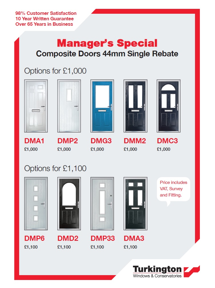 Managers special offers on front doors.