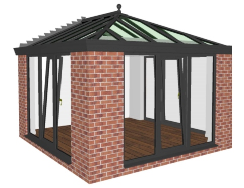 CGI design of a ultraframe roof extension.