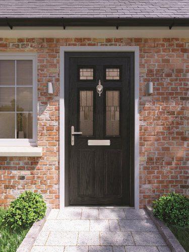 Classic black front door.