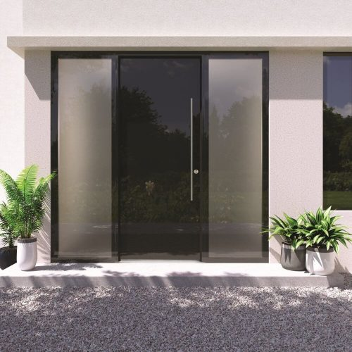Solid black door with two glass side panels.