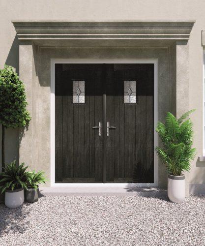 Double black french front door.