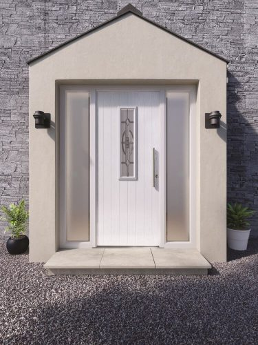 White front door with side panels and center window.