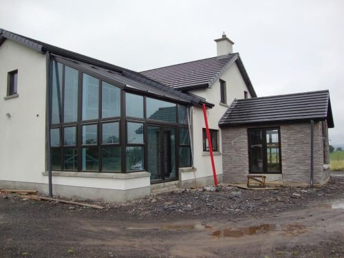 Outside a large glazing project in Galloway.