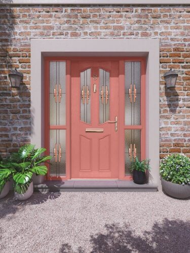 Salmon coloured front door.